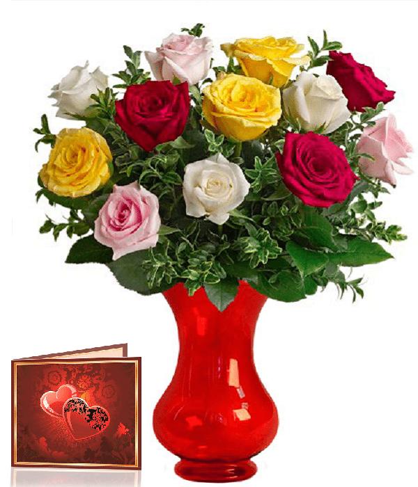 Kwiaty- Bukiet 13 róż z przybraniem