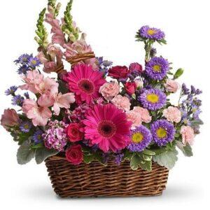 Kosze kwiatowe- Kosz Kwiatów Pełen Podziękowań