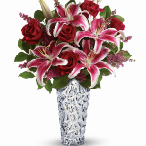 Kwiaty- Bukiet z lilii i róży