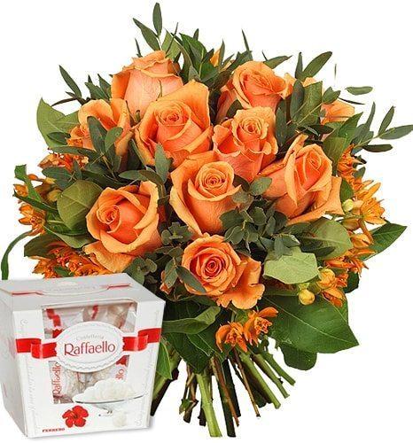 Kwiaty- 11 herbacianych róż+ rafaello