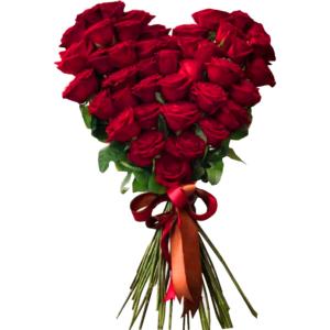 Przepiękny bukiet w kształcie serca z róż
