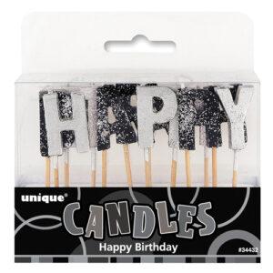 swieczki pikery happy birthday czarno srebrny