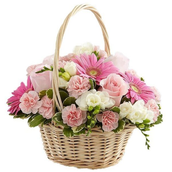 Kosze kwiatowe- kosz mini puder