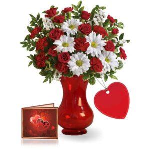 Kwiaty- Bukiet z Margaretką i różą