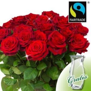 Zagranica- Bukiet czerwonych róż z wazonem