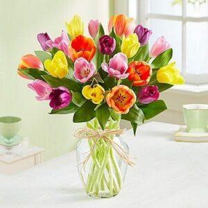Kwiaty- Bukiet 25 kolorowych tulipanów