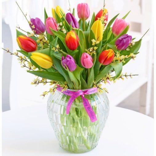 Kwiaty- Bukiet 18 tulipanów+ dodatki
