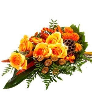 Okazje- Wiązanka pogrzebowa w kolorze pomarańczowym