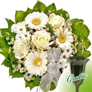 Okazje- Biały bukiet żałobny z wazonem nagrobnym