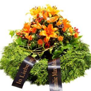 Okazje- Wieniec pogrzebowy z pomarańczowymi liliami