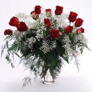 Kwiaty- 12 romantycznych róż+ czekoladki