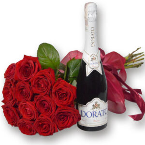 BUKIET 12 róż i wino musujące