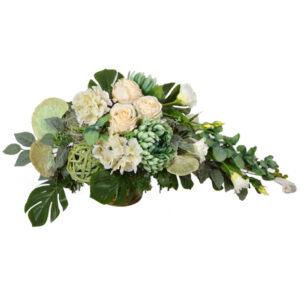 Stroik z kwiatów sztucznych w kolorze beżowo-zielonym