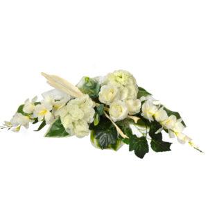 Stroik z kwiatów sztucznych w kolorze żółto-białym