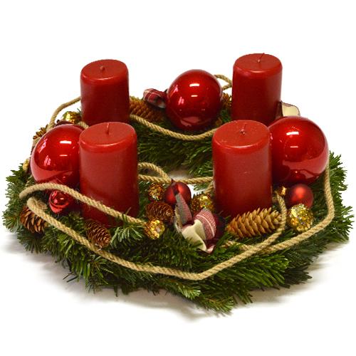 Wieniec adwentowy – Świąteczna czerwień