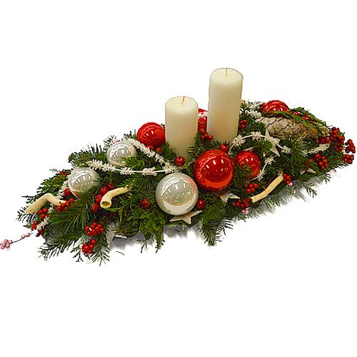 Stroik świąteczny czerwono srebrny
