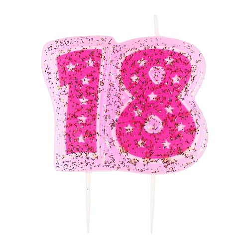 swieczka liczba 18 rozowa pikery A