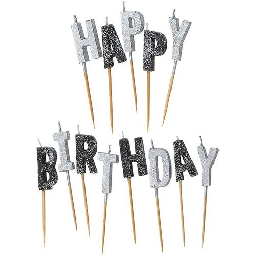 swieczki pikery happy birthday czarno srebrny A