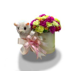 Kwiatowy box z alpaką