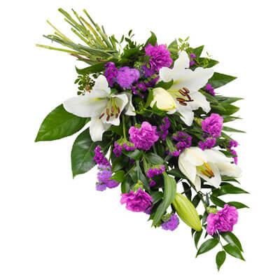 Biało-fioletowa wiązanka pogrzebowa